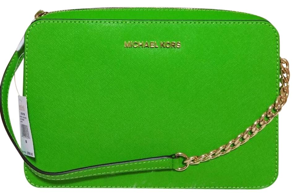 a90851fdf076 Michael Kors Jet Set Travel Large East West Green Saffiano Leather ...