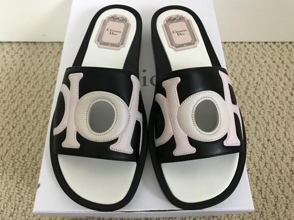f93b5a59fa30 Dior Black Christian Marina Letter Logo Leather Flat Slide Sandals ...