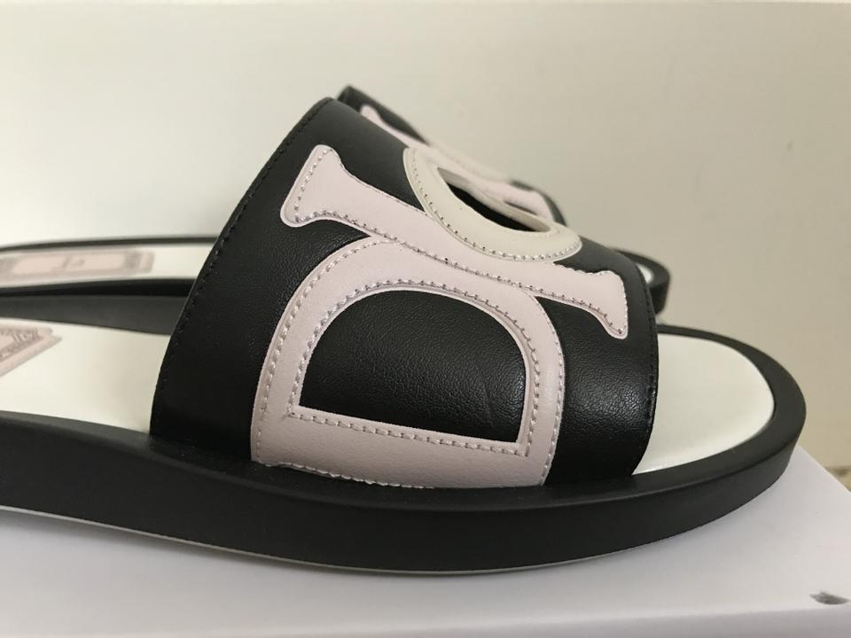88d6cf840d87 Dior Black Christian Marina Letter Logo Leather Flat Slide Sandals Size EU  36 (Approx. US 6) Regular (M