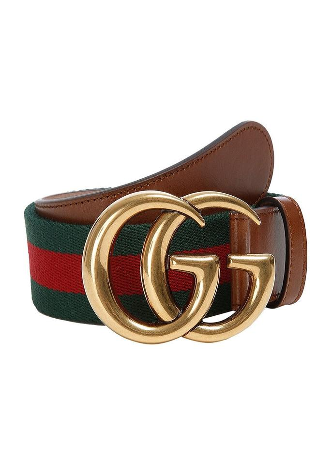 887fce85370 Gucci Brown W  Red Green Marmont Last One Web with Double G Gold Buckle  Size 85 34 Belt