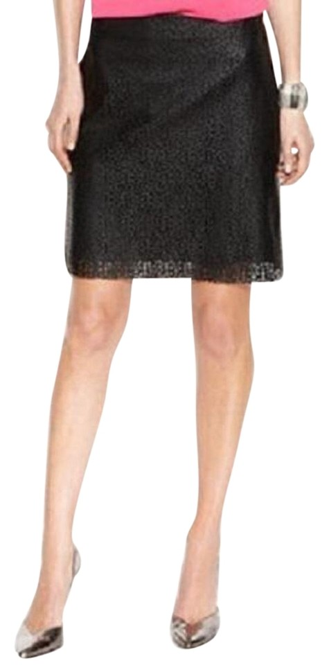 1fdbffa7c8 Vince Camuto Black Perforated Faux-leather Laser Cut Skirt Size 12 ...