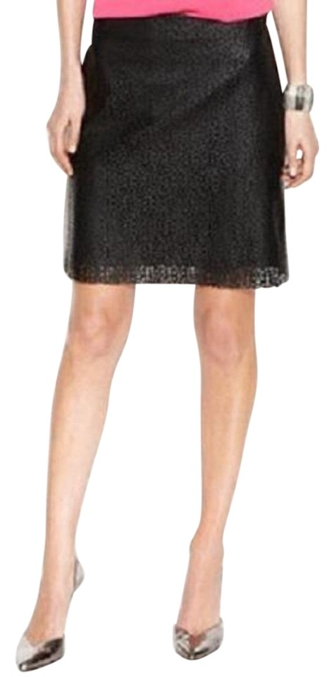 fe663a8196 Vince Camuto Black Perforated Faux-leather Laser Cut Skirt Size 2 ...