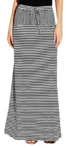 Vince Camuto Striped Stripes Drawstring Maxi Skirt Black and White