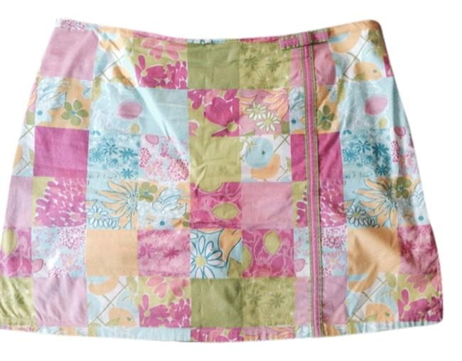 Lilly Pulitzer Designer Casual Fun Summer Stretch Cotton Yellow Yellow Pattern Mini Skirt Pink blue madras plaid