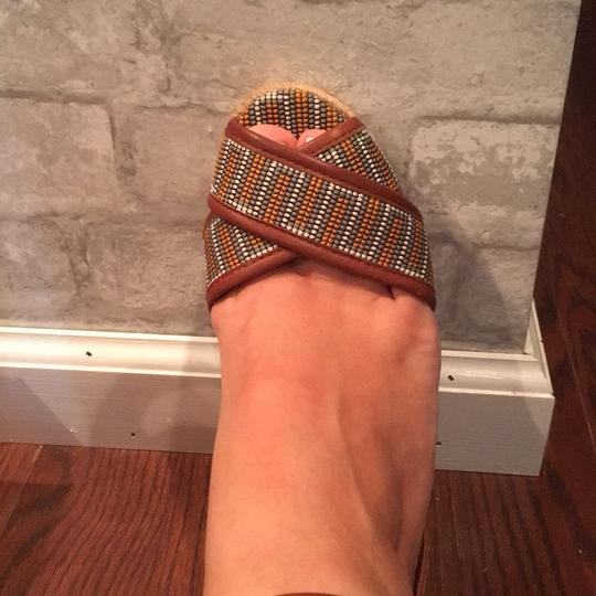 Tory Burch brown with yellow Wedges