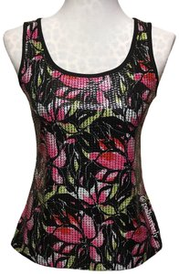 Peter Nygard Top Black Pink Green White