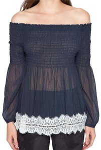 Willow & Clay Crinkled Chiffon Contrast Lace Trim Generous Shirring Flowy + Breezy Hugs The Figure Top Midnight