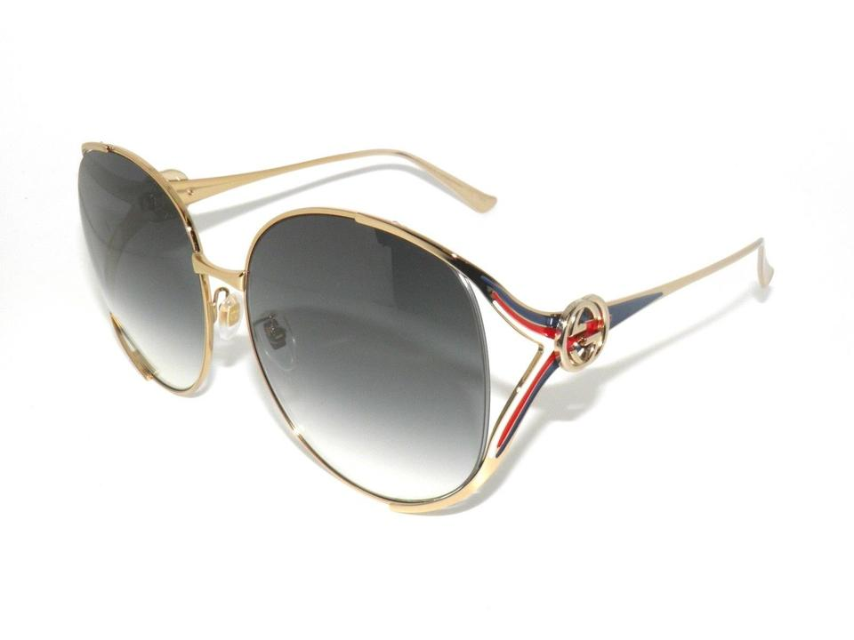 dfd17eadf2 Gucci Gold Red White Blue Gg0225s 004 Red White  Round Oversized New  Sunglasses
