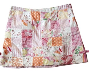 Lilly Pulitzer Designer Summer Fun Mini White Detailed And White White Mini Skirt Orange pink pattern