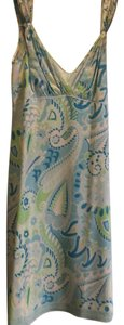 Elie Tahari short dress beautiful pale blue, mint green, turquoise and off white paisley on Tradesy