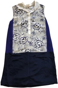 Rebecca Taylor short dress Blue Floral Color-blocking Silk Peter Pan Collar Summer on Tradesy