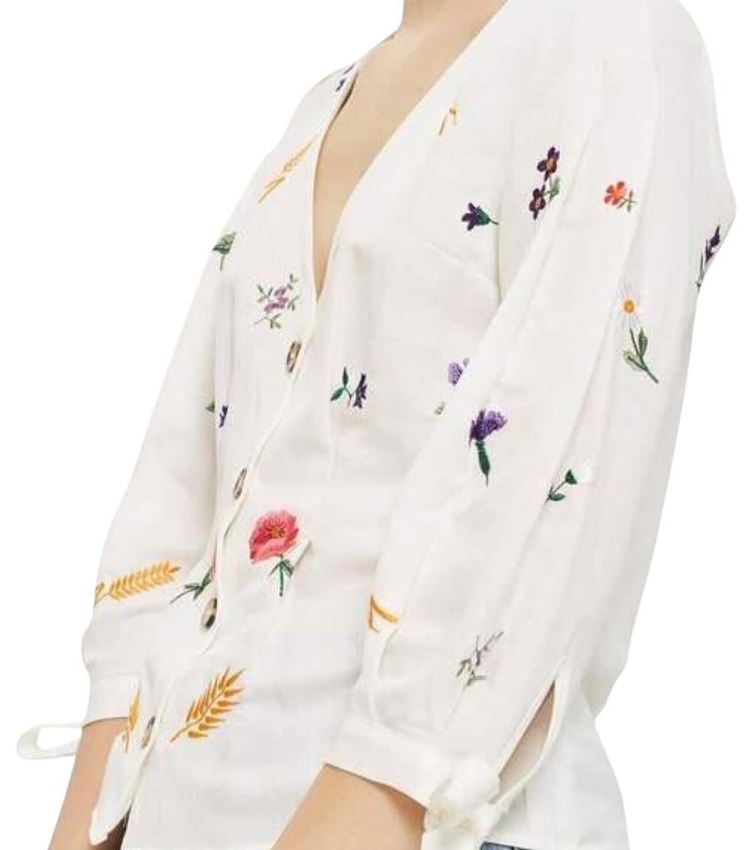 3f75458a84dd56 Topshop Ivory Field Embroidered Floral Blouse Size 4 (S) - Tradesy