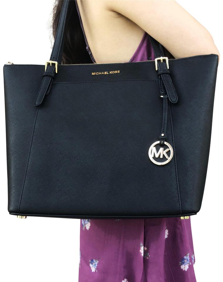 6a5700a1a284 Michael Kors Ciara Large Top Zip Black Leather Tote - Tradesy