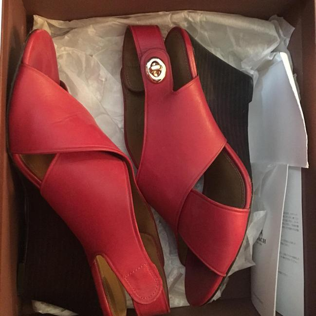 Item - Red Rosanne Calf Leather Wedge Sandals Size US 7.5 Regular (M, B)