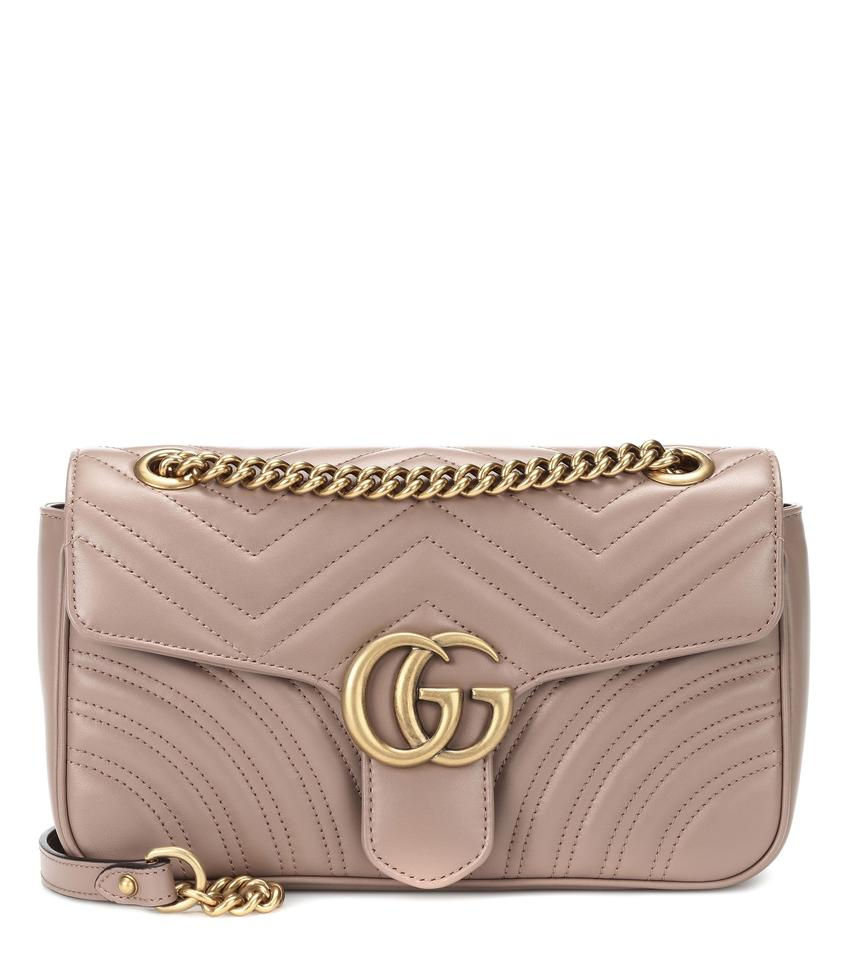 801b4d4bab65 Gucci Marmont New Antique Soft Rose Small Nude Leather Shoulder Bag ...