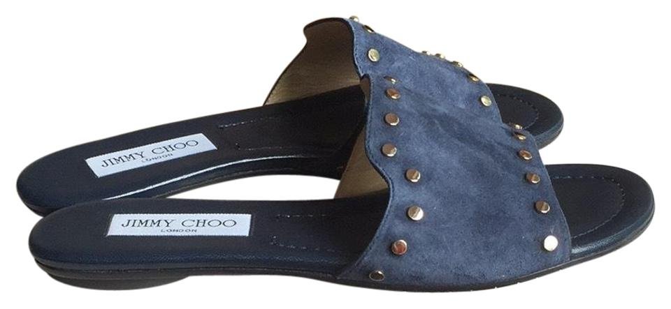 women Jimmy Choo Mules/Slides Navy/Gold Nanda Mules/Slides Choo Reasonable price 29dc4e