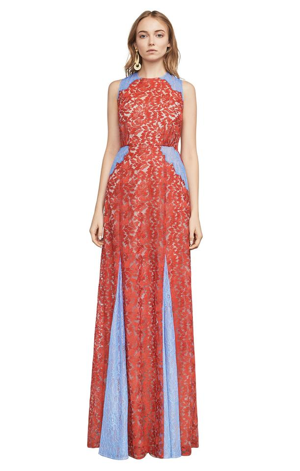 09bcc14c7fa BCBGMAXAZRIA Blue and Red Marilyn Lace Gown Long Formal Dress Size 4 ...