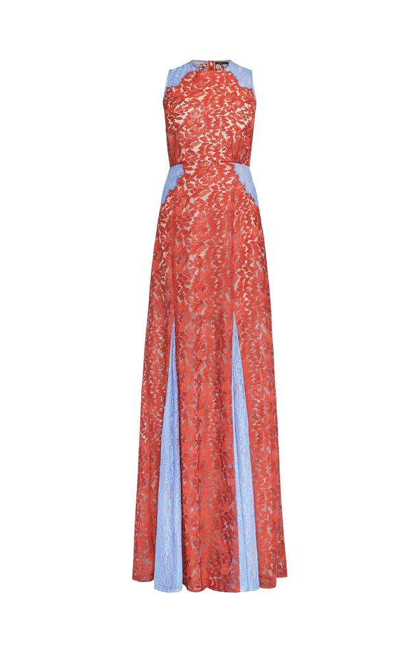 BCBGMAXAZRIA Blue and Red Marilyn Lace Gown Long Formal Dress Size 4 ...