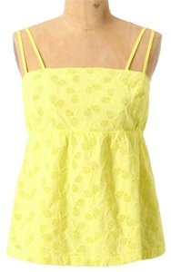 Anthropologie Double Straps Adjustable Straps Lined Comfy Cotton Embroidered Top Yellow