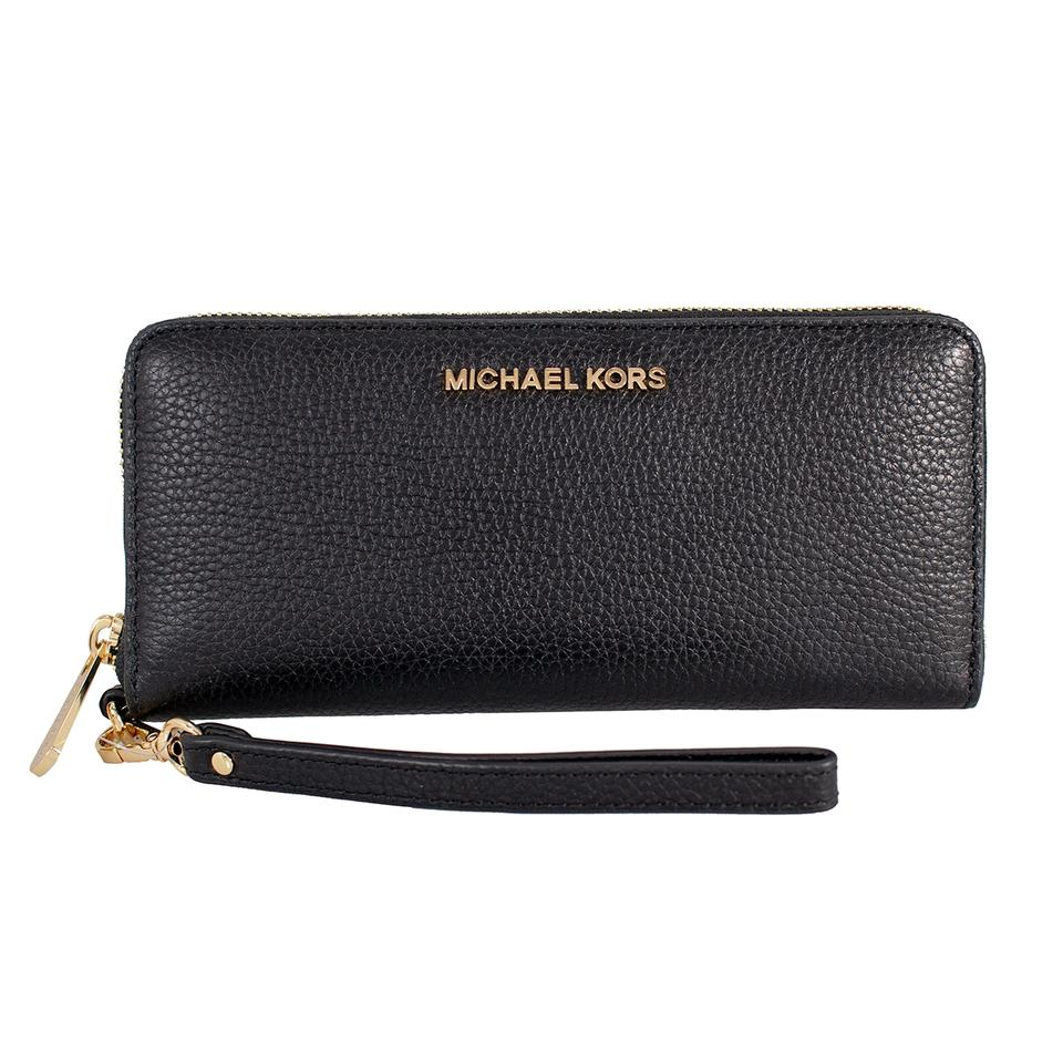 b0dc930c0445 Michael Kors Black Jet Set Travel Leather Continental Wristlet Wallet