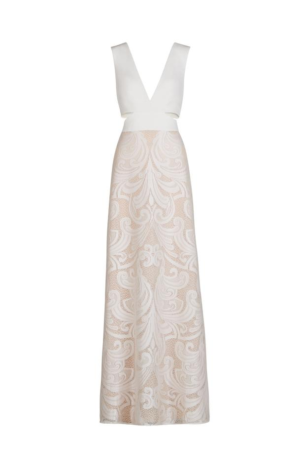 BCBGMAXAZRIA Off White Marilyne Swirl Lace Cutout Gown Long Formal ...