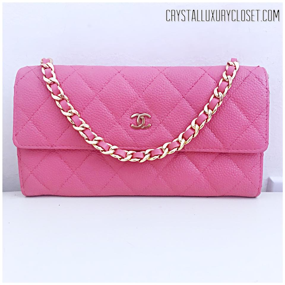 1bbc8a17bc83 Chanel Classic Flap Wallet with Chain Added Pink Leather Clutch ...