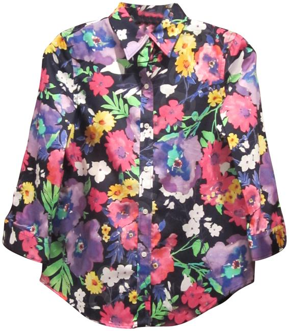 Item - Multi-color Floral 3/4-sleeve Shirt Style No. 201200474479 Button-down Top Size Petite 6 (S)