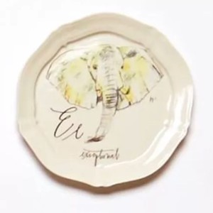 Anthropologie Ivory Calligrapher CanapÉ Plate Linea Carta E Exceptional Elephant Dish Casual China