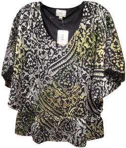 ECI New York Semi-sheer Paisley Print Bell Sleeves Metallic Colors Lined Top Multi-Color