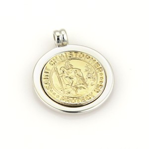 Tiffany & Co. St. Christopher 925 Silver 18k Yellow Gold Medallion Pendant