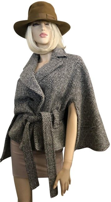 Item - Brown Tweed Belted Wool Blend Poncho/Cape Size 12 (L)