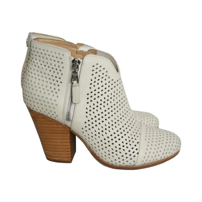Item - White Perforated Margot Zip Closure Leather Ankle Boots/Booties Size US 8 Regular (M, B)