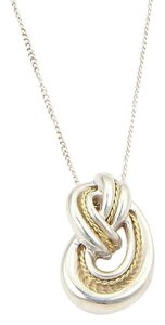 Tiffany & Co. Vintage 925 Sterling 18k YGold Love Knot Pendant Necklace