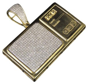 Jewelry Unlimited 10K Yellow Gold Digital Weighing Scale Diamond Pendant 1.35Ct 1.5""