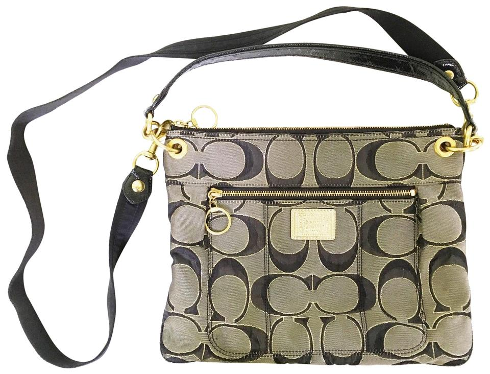 927e11ba4f1 Coach Poppy Signature Black and Gold Sateen Cross Body Bag - Tradesy