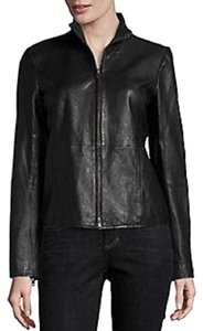 Eileen Fisher Stand Biker Moto Lambskin Rumpled BLACK Leather Jacket