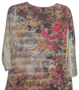 Westbound 3/4 Sleeve Floral T Shirt Multi-Color