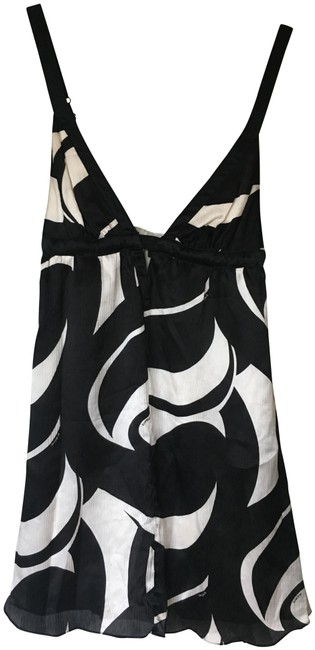 Item - Black and White Silk Mid-length Night Out Dress Size 6 (S)