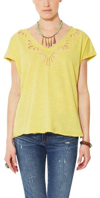 Preload https://img-static.tradesy.com/item/23493698/free-people-yellow-cutwork-double-v-cotton-tee-shirt-size-os-0-1-650-650.jpg
