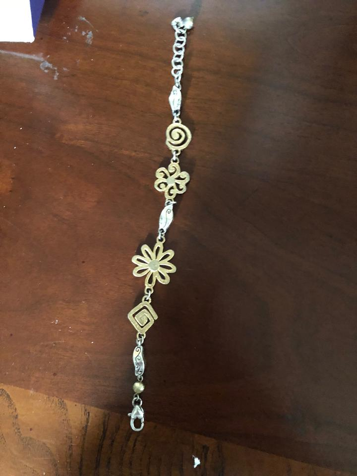 Brighton Silver Gold And Flower Bracelet