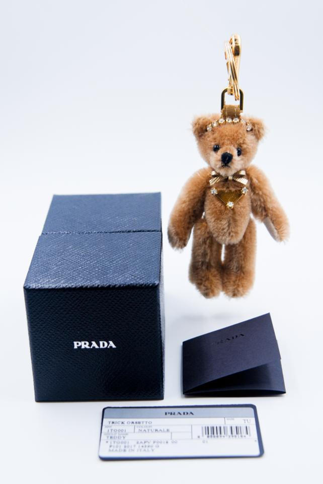 926feb59726d Prada Brown Teddy Bear with Saffiano Bow and Triangle Plate Hand Bag ...