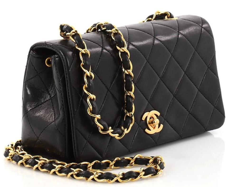 Chanel Classic Flap Mini Chain Strap Quilted Black Lambskin Cross Body Bag b750283566822
