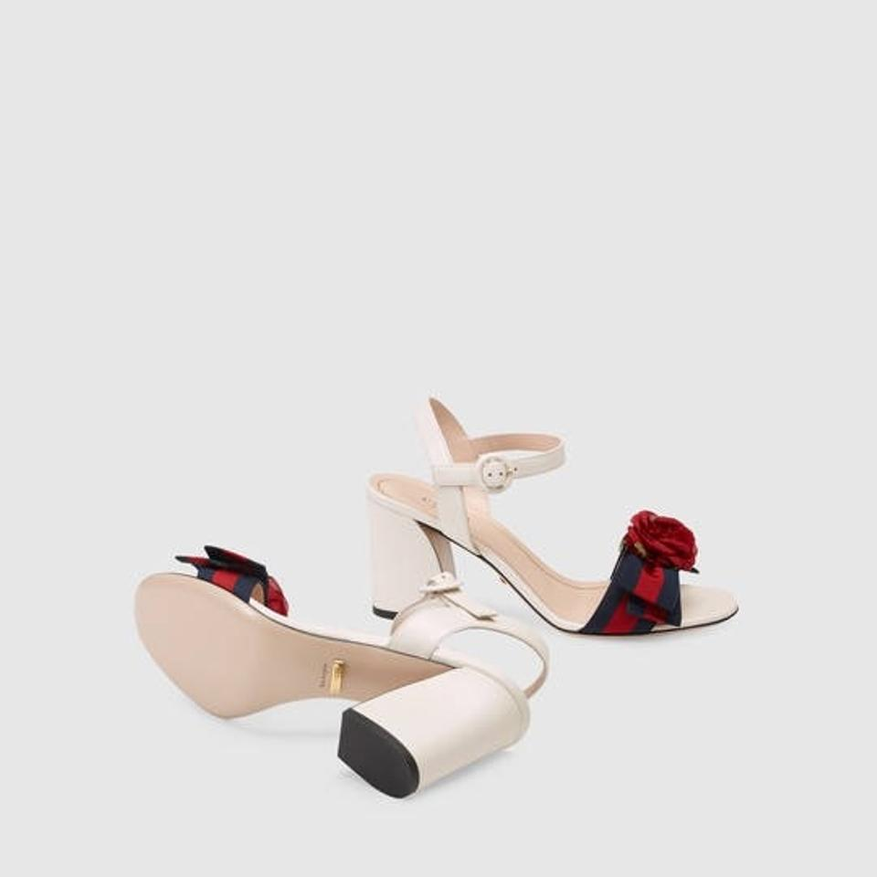 06950d096b2e Gucci Web Bow with Silk Flower Leather Mid Heel Sandals Size EU 36.5 ...