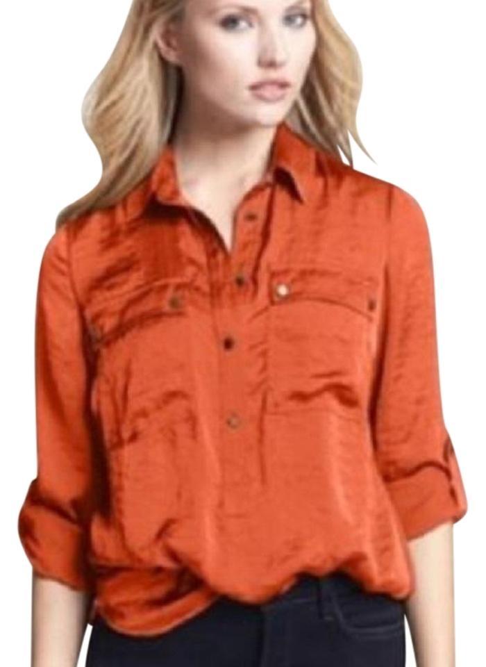 0dbf790b0fdf79 MICHAEL Michael Kors 888235099514 Orange Spice Roll Tab Button Down Pull  Over Shirt - Sz. M Blouse