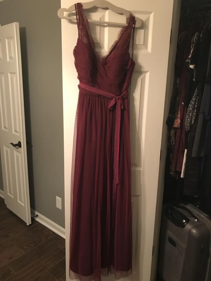 Anthropologie Crimson With Sheer Lace Straps And A Wrapped Bodice