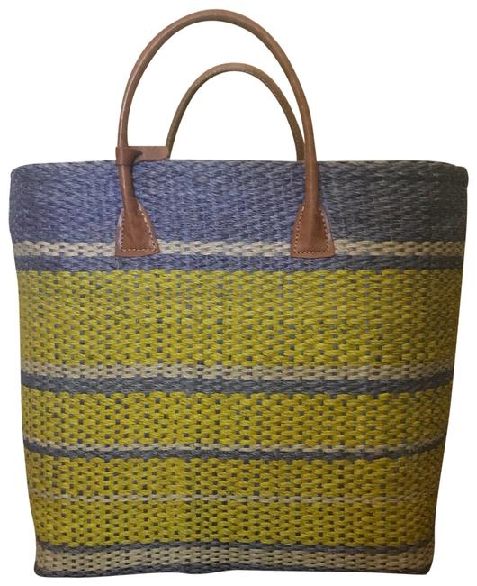 Item - Yellow/ Blue Straw and Canvus Tote