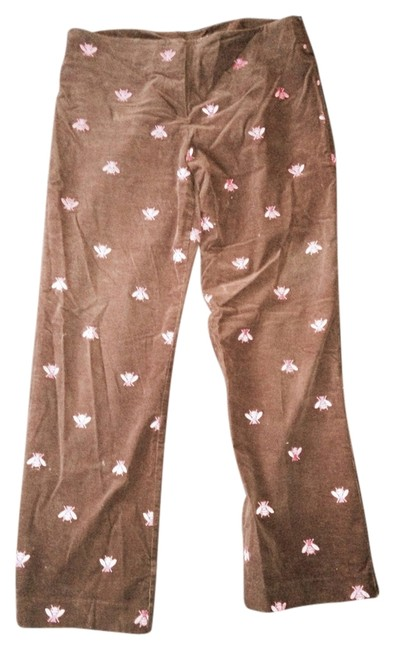 Lilly Pulitzer Corduroy Winter Fun Designer Casual Corduroy Corduroy Pink Relaxed Pants Brown