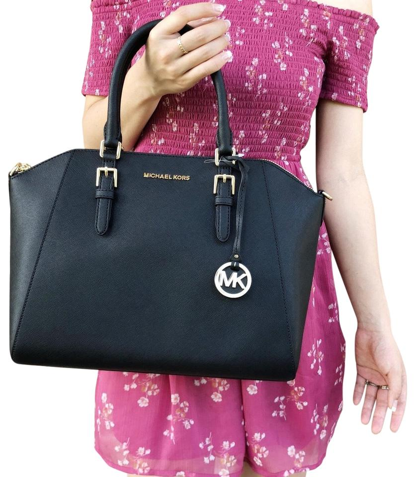 8493b1ee0fb0 Michael Kors Large Ciara Top Saffiano Black Leather Satchel - Tradesy