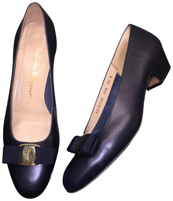 "Item - Blue Navy Vara Grosgrain Bow 1.2"" Heel Flats Size EU 39.5 (Approx. US 9.5) Regular (M, B)"