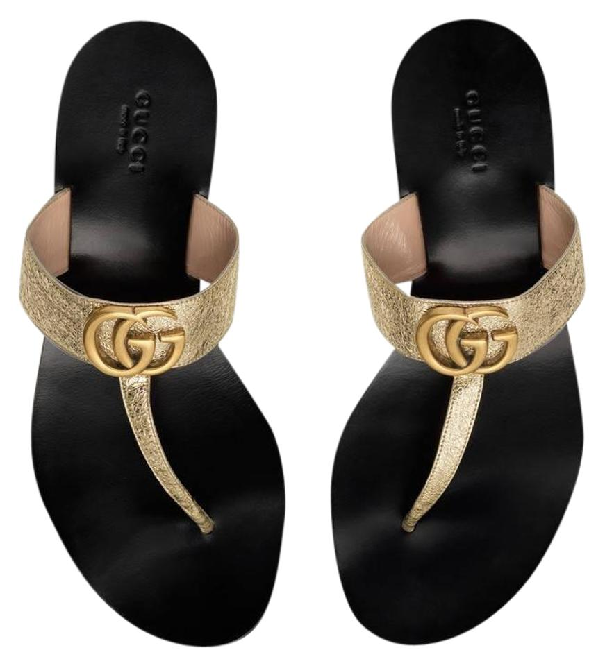 e24a9afe9 Gucci Gold Leather Thong with Double G Sandals Size EU 39 (Approx ...